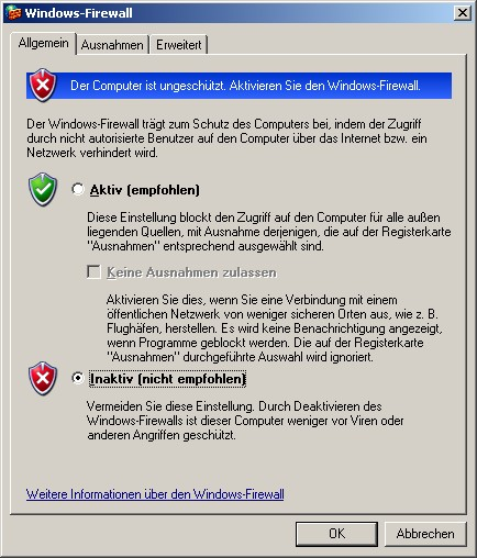 Einstellung der Windows-Firewall