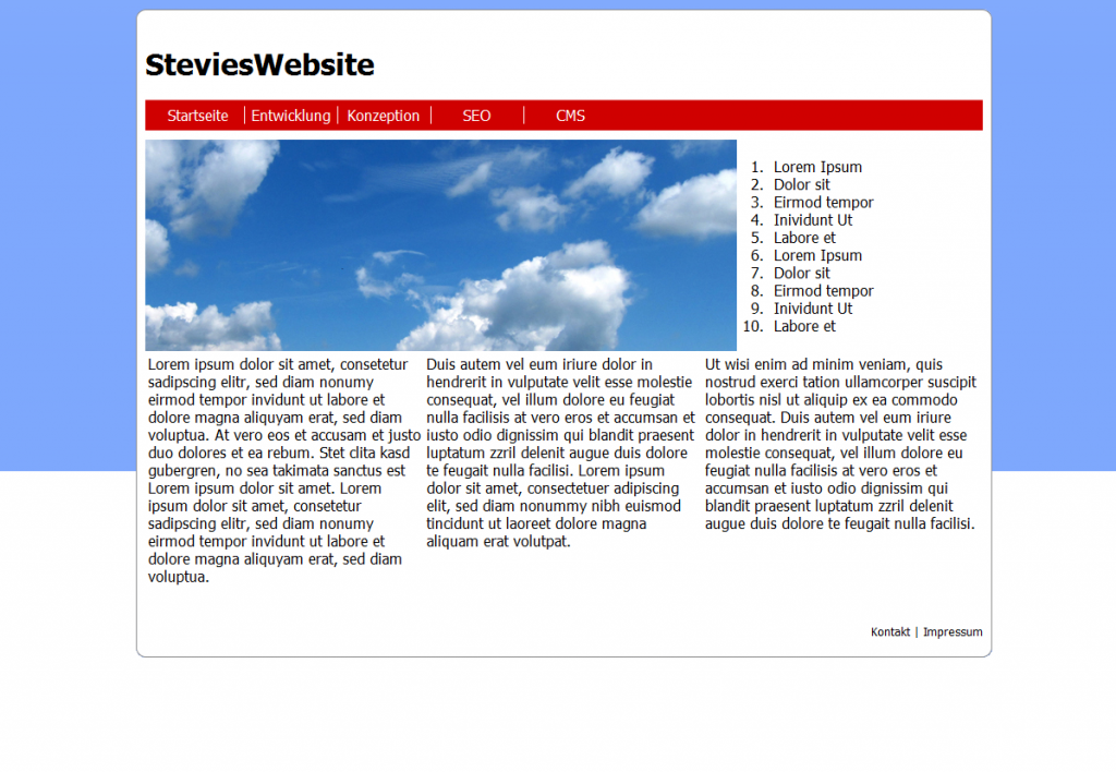 Neues SteviesWebsite Design