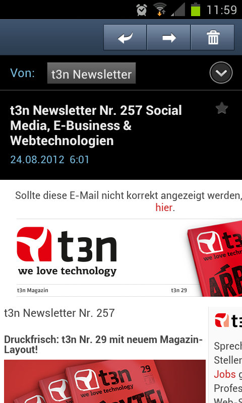 T3n Newsletter mobile