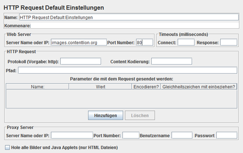 Http Request Default Einstellungen